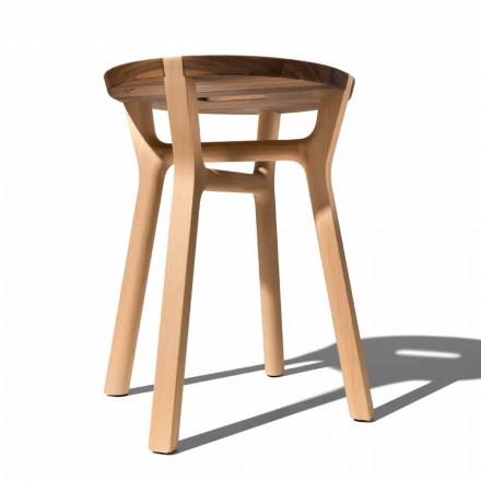 Scaun cu design scăzut în fag și nuc solid fabricat în Italia - Nuna