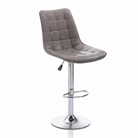 Scaun de design cu scaun din piele și structură cromată, 2 bucăți - Chiotta