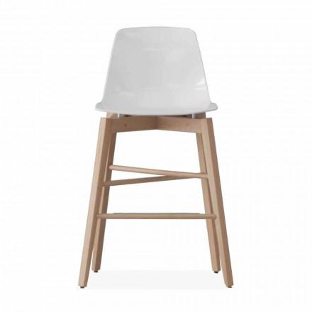 Scaun din lemn de stejar și scaun lăcuit alb de design modern - Langoustine