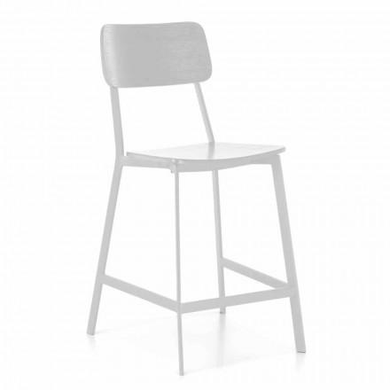 Scaun modern din metal cu scaun și spătar din lemn, 2 bucăți - Habibi