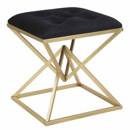 Scaun pătrat de design modern din fier și țesături - Jeleu