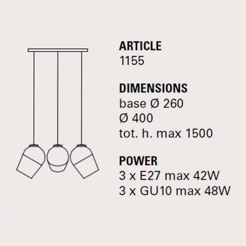Lampă de suspensie cu trei lămpi metalice Magnet - Toscot