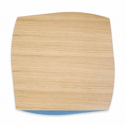 Placemă pătrată modernă din lemn de stejar Fabricată în Italia, 4 bucăți - Abraham