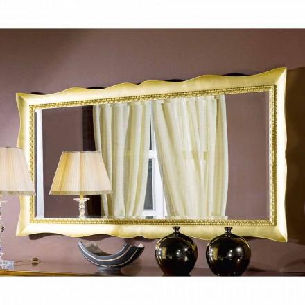 Oglindă de perete realizată manual din aur sau argint din lemn, fabricată în Italia Luigi