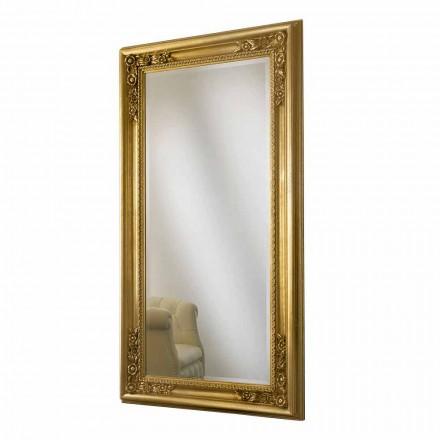 Oglinda de perete din aur, lemn de argint realizat manual, făcut din Italia Michele