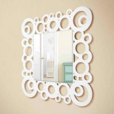 Oglindă de perete albă cu design modern cu decorațiuni din lemn - bule
