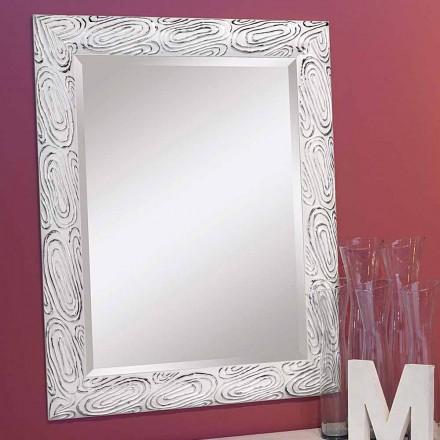Oglinda de aur alb și argintiu din lemn Eugenio făcută în Italia