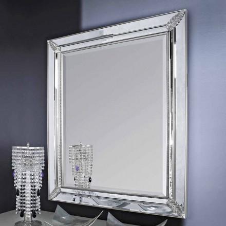 Oglinda de perete de otel, mana de aur din lemn realizata in Italia Samuele