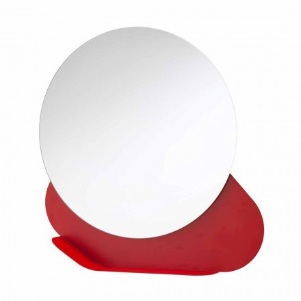 Oglindă de perete cu raft metalic în diferite culori Made in Italy - Hera