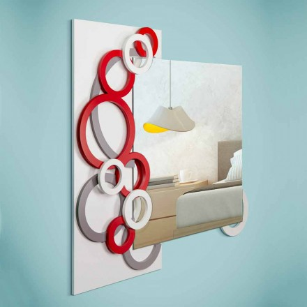 Oglinda de perete modernă de culoare alb-gri gri, din lemn - iluzie