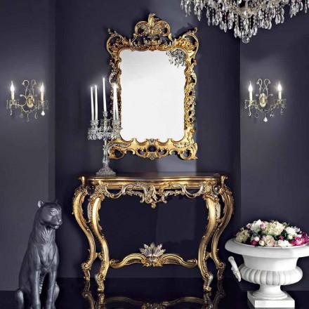 Oglinzi din lemn de perete și mdf realizate în Italia, masa de consolă Andrea