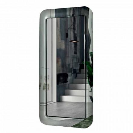 Oglindă dreptunghiulară lungă cu cadru cu efect de cristal Fabricat în Italia - Buclă