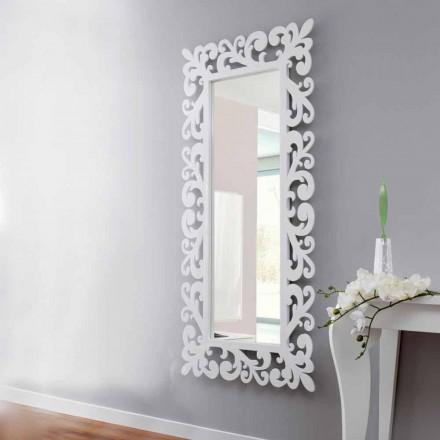 Oglindă mare de design dreptunghiulară din lemn alb modern - corteză
