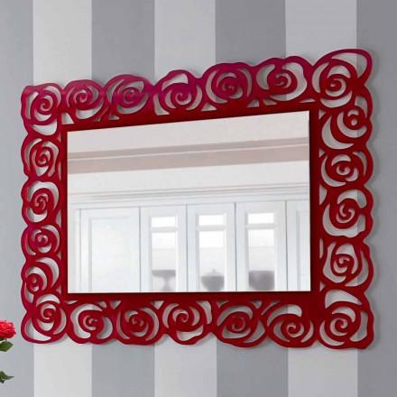 Oglindă mare de perete modernă în plexiglas roșu - Rosalinda