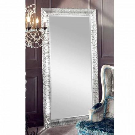 Oglindă de perete dreptunghiulară din lemn de brad din Italia Achille