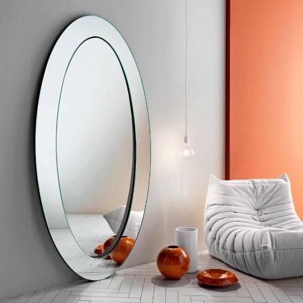 Oglindă modernă modernă, ovală, cu cadru înclinat fabricat în Italia - Salamina