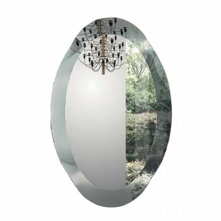 Oglindă de perete ovală din sticlă ondulată de cristal Fabricată în Italia - Eclisse