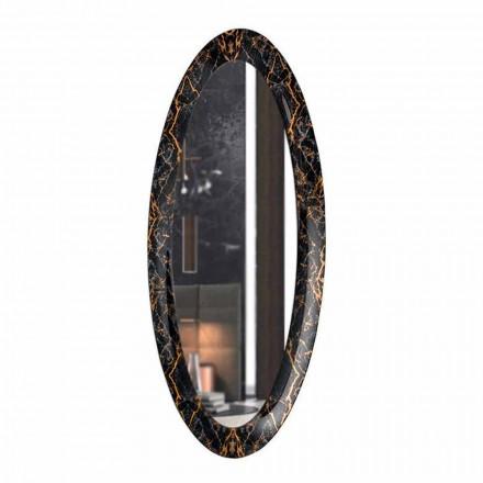 Oglindă lungă de perete ovală cu cadru cu efect de marmură Made in Italy - Denisse