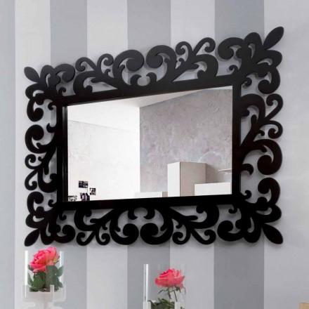 Oglindă de perete dreptunghiulară cu design modern modern din lemn negru - Manola