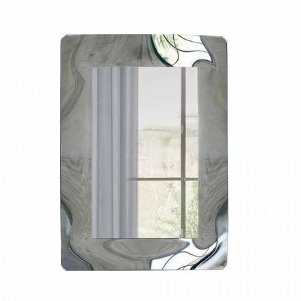 Oglindă dreptunghiulară cu cadru din sticlă ondulată Made in Italy - Vira