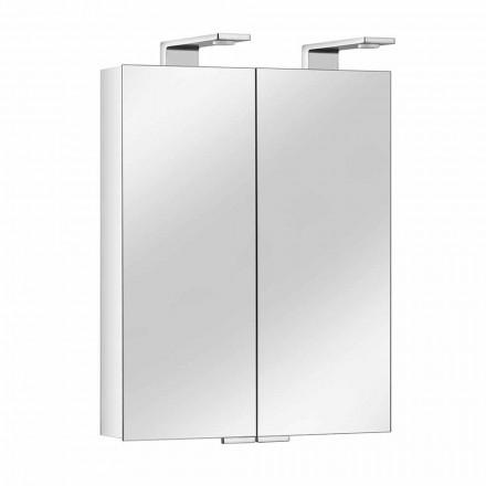 Oglindă cu 2 uși cu recipient din aluminiu argintiu și detalii cromate - Maxi