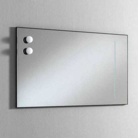 Oglindă de baie de perete cu 2 becuri și cadru negru Fabricat în Italia - Cadru