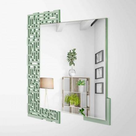 Oglindă modernă de perete design din lemn verde decorat - labirint
