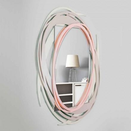 Oglindă modernă de perete cu design decorativ din lemn colorat - orbită