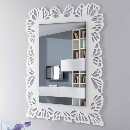 Oglinda de perete albă din plexiglas cu ramă dreptunghiulară decorată - Alidifarf