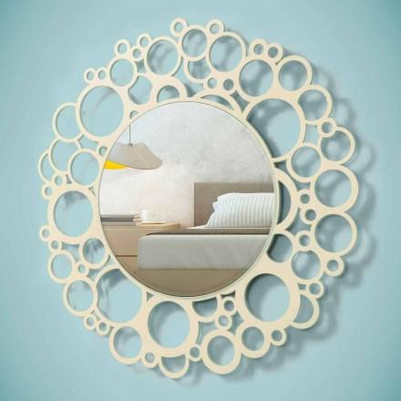 Oglindă rotundă de perete din lemn maro de design modern cu rama - Bumblebee