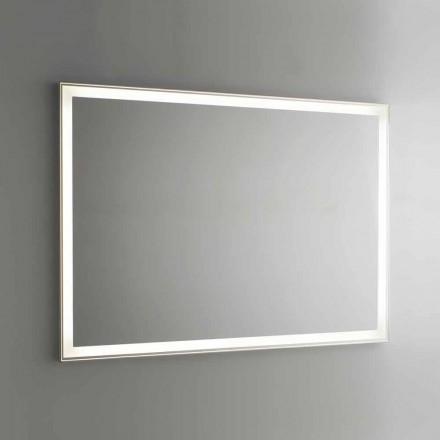 Oglindă de baie din imitație de aluminiu cu iluminare din spate Made in Italy - Palau