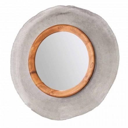 Oglinda moderna de perete din metal si teak Monno