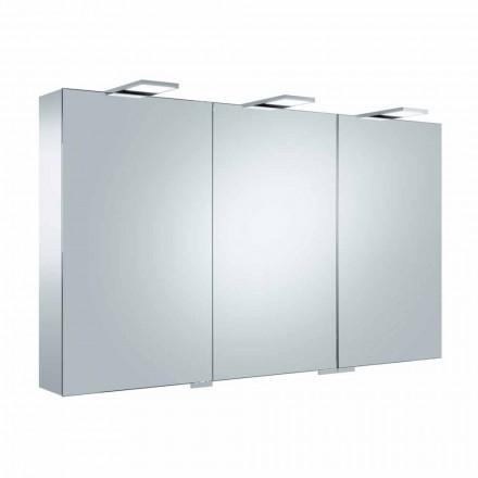 Oglindă container cu 3 uși cu 9 rafturi interne și iluminare cu LED - clichet