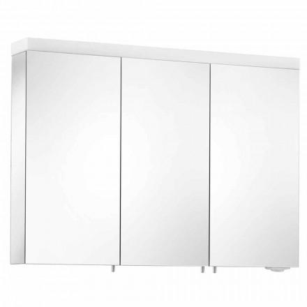 Oglindă de depozitare cu 3 uși din aluminiu vopsit argintiu - Alfio