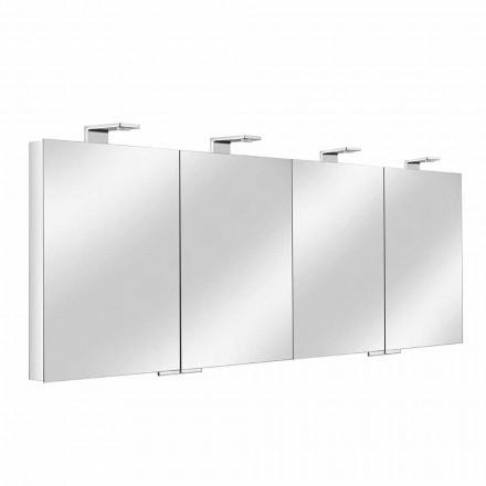 Container pentru oglinzi cu 4 uși din cristal cu 12 rafturi și 4 lumini LED - Maxi