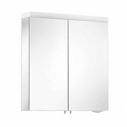 Oglindă cu 2 uși din aluminiu vopsit argintiu, Alfio modern