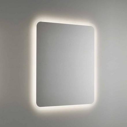 Oglindă de baie rotunjită cu iluminare din spate cu LED Made in Italy - Pato