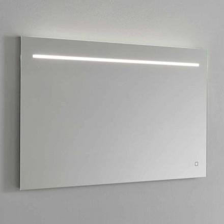 Oglindă modernă de perete cu lumină LED și cadru din oțel Made in Italy - Yutta