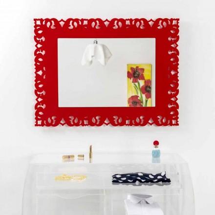 Oglinda de perete roșu cu macrame decorative Tonya made in Italy