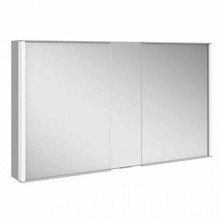 Oglindă modernă de perete cu 3 uși din aluminiu vopsit argintiu - Demon