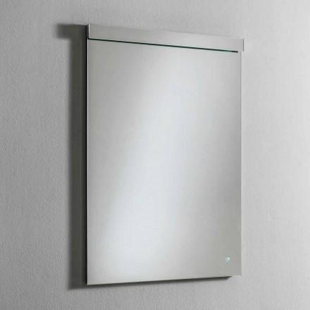 Oglindă de perete cu lumină LED integrată din oțel inoxidabil Fabricat în Italia - Tuccio