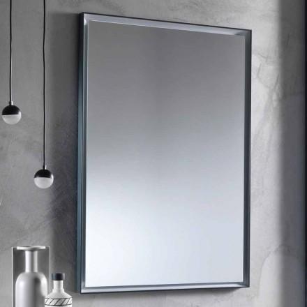 Oglindă de perete cu cadru din aluminiu și lumină LED Fabricată în Italia - Chik