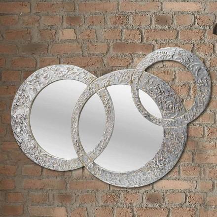 Design oglindă de perete din frunze de argint fabricate în Italia Cortina