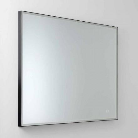 Oglindă pătrată de perete cu LED din sticlă satinată Made in Italy - Mirro
