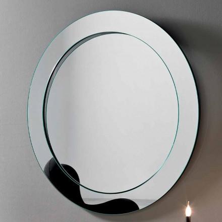 Oglindă rotundă de perete cu cadru înclinat fabricat în Italia - Salamina
