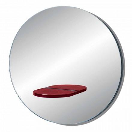 Oglindă rotundă de perete cu raft din sticlă colorată fabricată în Italia - Eliza