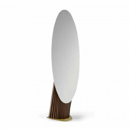 Oglindă de podea de lux din lemn de frasin și metal Fabricat în Italia - Cuspide