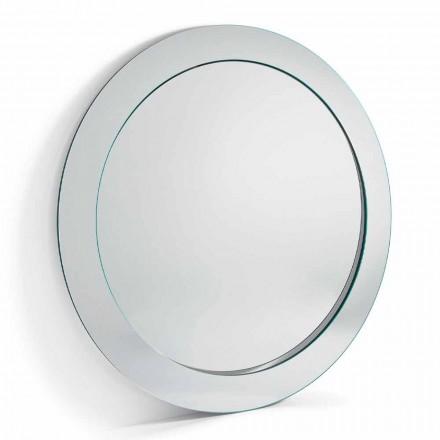 Oglindă modernă rotundă liberă, cu cadru înclinat fabricat în Italia - Salamina