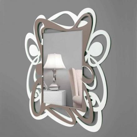 Oglindă decorativă modernă de culoare albă și bej bej mare - Bocchio