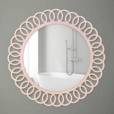 Oglindă mare de perete de design decorativ și modern din lemn roz - Coroană